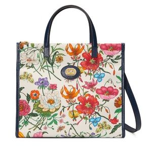 Gucci Flora Collection Leather Trimmed Canvas Tote